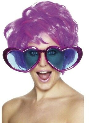 Pair of Novelty Giant Pink Heart Glasses / Specs  Fun Fancy Dress Accessory New
