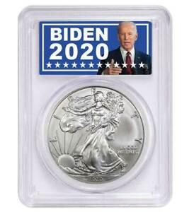 2020 $1 American Silver Eagle PCGS MS70 Biden 2020 Label