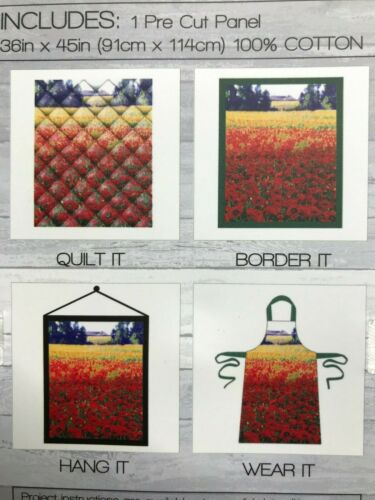 "Fabric Panel Field of Poppies 36/"" x 45/"" 100/% Cotton"