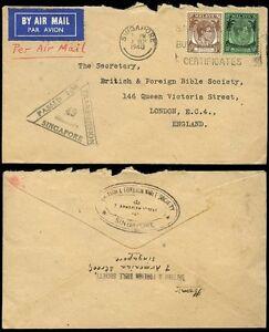 MALAYA STRAITS SETTLEMENTS KG6 1940 CENSORED AIRMAIL 55c SINGAPORE SLOGAN CANCEL