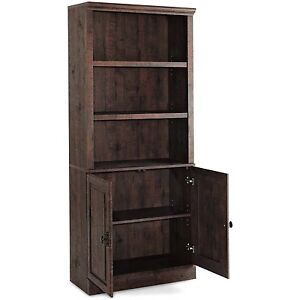 3 Shelf Bookcase With Doors Tall Cabinet Storage Wood