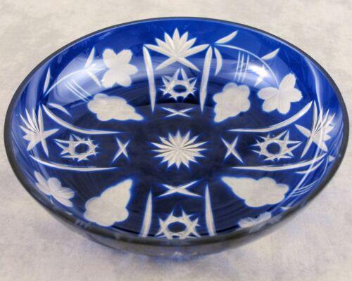 VTG BOHEMIAN COBALT BLUE CUT TO CLEAR GLASS BOWL ~ STAR GRAPE /& FLORAL ~ NOS ~