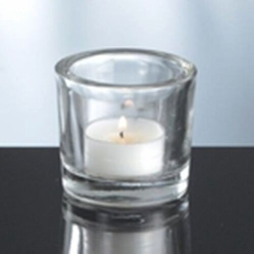 """Clear Cylinder Glass Tealight Candle Holder 2 1//4/"""" Tall New"""