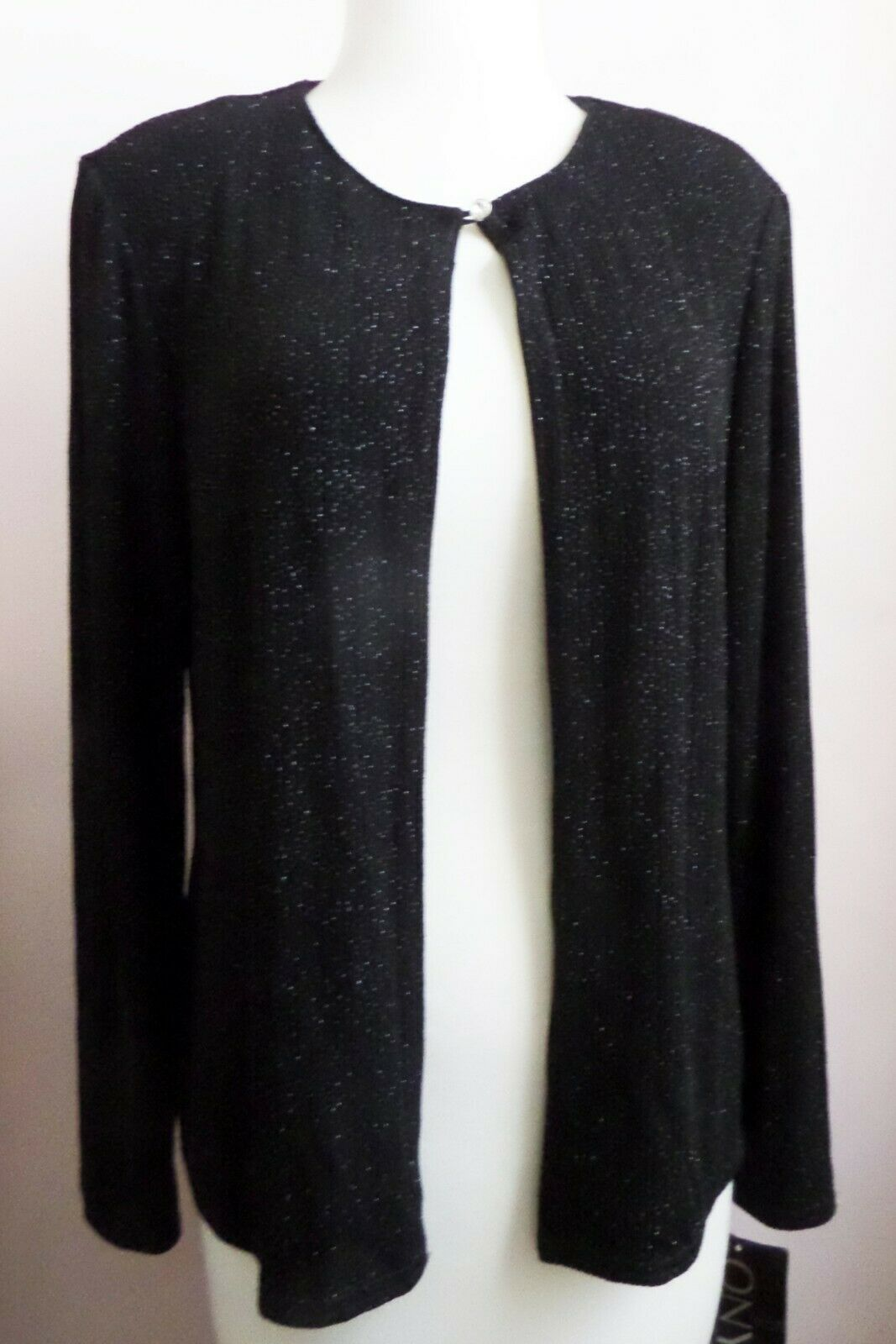 ONYX Nite Stretchy Black Single Button Front Cardigan with Silver Shimmer Size M
