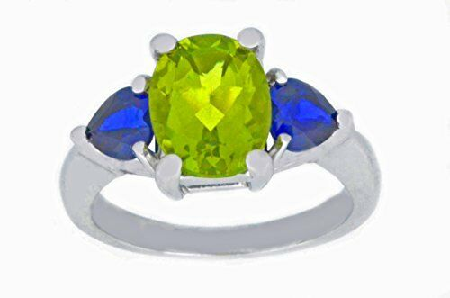 4 Ct Peridot Oval /& Blue Sapphire Heart Ring .925 Sterling Silver