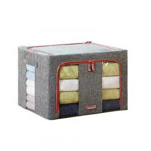 YOUFUL 66L Foldable Storage Box Crushed Steel Frame Clothes Quilt Organizer Bag