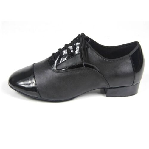 Black Genuine Leather Latin Dance Shoes Mens Ballroom Modern Shoes Soft Sole