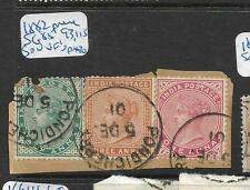 INDIA FRENCH INDIA (P0410B) QV USED IN PONDICHERRY 1/2+3A+1A  PIECE VFU