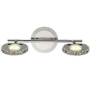 LED-Kristall-Deckenleuchte-Deckenspot-2-flammig-Wandstrahler-Strahler-Chrom-Spot