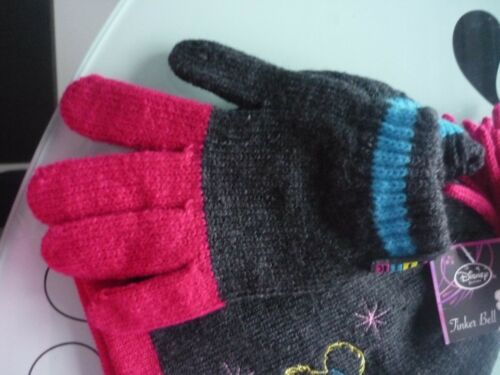 Girls /'TINKER BELL/' hat /& gloves set Grey /& Deep Pink fit 4 to 8 yrs Fab Present