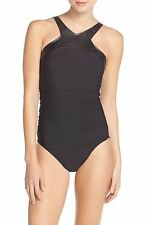 Magicsuit® 'Bonnie' Faux Leather Neck One-Piece Swimsuit 368962 Black 12