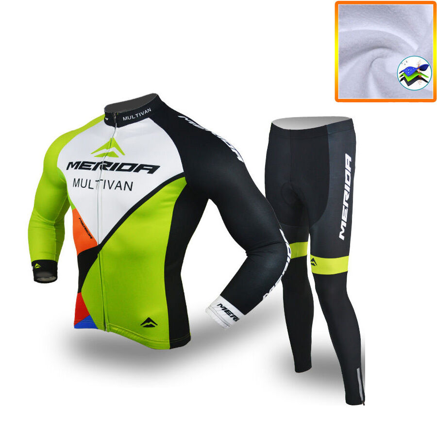 Merida  Multivan Fleece Team Kit Men's Thermal Winter Cycling Jersey Tights Set  free and fast delivery available
