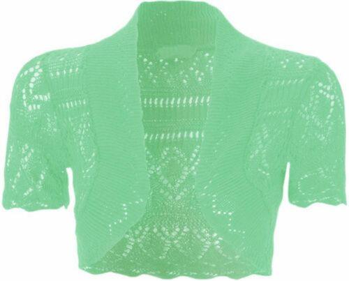 NUOVA linea donna PLUS SIZE Crochet Knit Pesce Netto alzate di spalle BOLERO TOPS 8-20