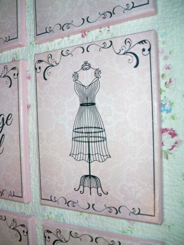 French Vintage Decor-CORSET ART Shabby-Cottage Pink /& Black 8x10 Canvas Sign