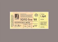 Ticket Konzertkarte Sammlerticket  - TOTO - Hamburg 1988