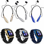 Bluetooth Smart Wrist Watch + Earphone For IOS Android iPhone Samsung HTC Huawei