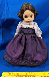 Madame-Alexander-Doll-Little-Women-Meg-Made-in-USA-8-034-Bun-Hair-Jewel-Dress-VTG