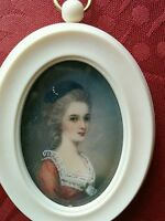 Antique portrait stunning miniature painting of lady