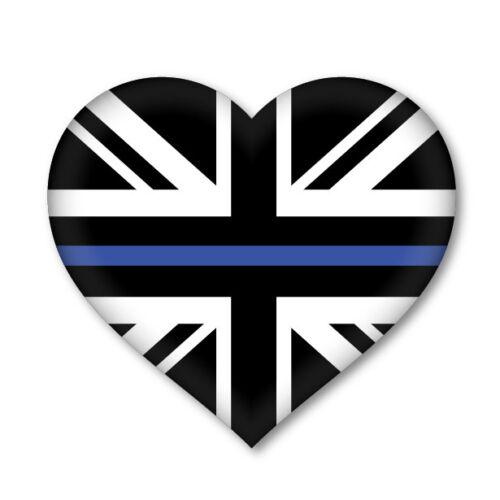 2 x THIN BLUE LINE UNION JACK HEART Flag van decal sticker car