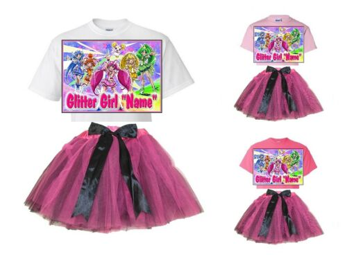 "/""Glitter Force Glitter Girl/"" Personaliz​ WhiteorPink TShirt /& Pink/&BlackTutu-NEW"