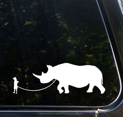 "Car Vinyl Decal ©YYDC WHITE 8.5/""w x 3/""h Child Walking Pet Rhinoceros CAR"