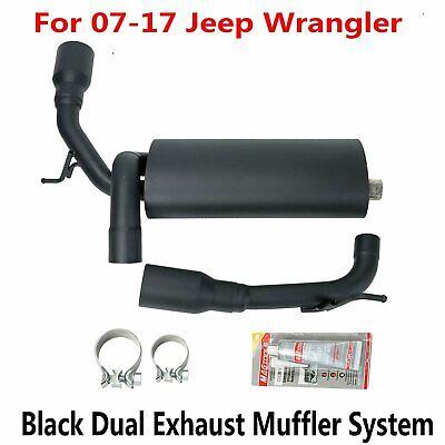 Flat Black Dual CatBack Exhaust Muffler System 2//4DR for 2007-2017 Jeep Wrangler JK