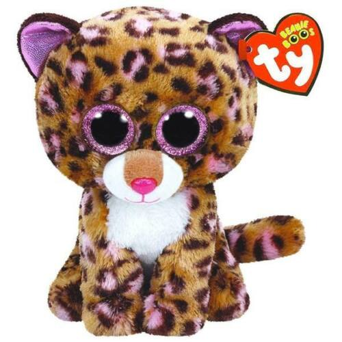 """NWT TY Beanie Boos 6"""" PATCHES Leopard Plush Cat Sparkly Eyes Boo Pink Brown NEW"""