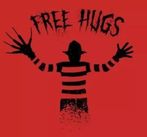 "Details about 2"" Freddy Kruger Free Hugs Red Horror Cult Film Movie Funny  Elm St Sticker"