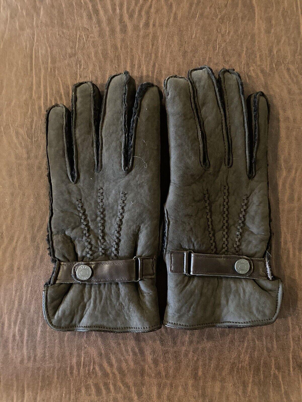 Alfred Dunhill Lamb Shearling Dark Brown Gloves Medium