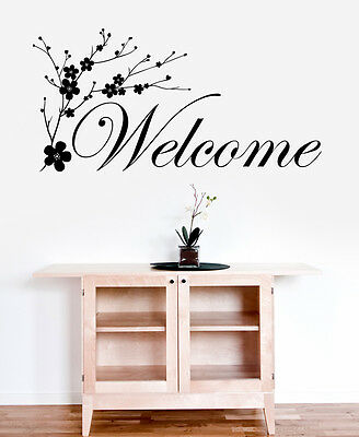 Welcome Cherry Blossom Flower Tree - Family Quote Words Wall Sticker - Art Decal