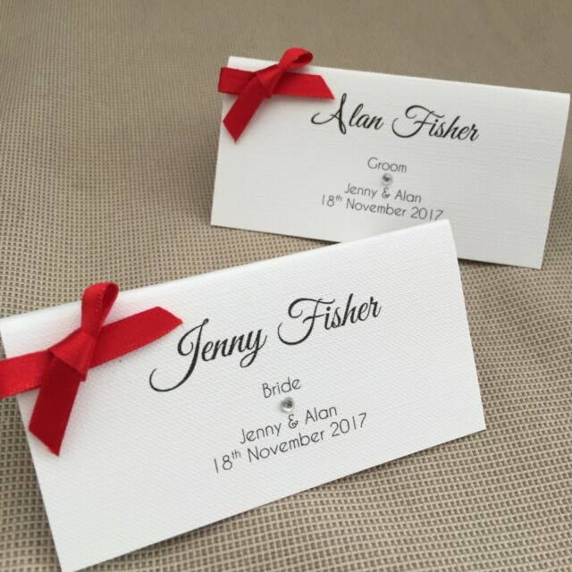 10 x handmade personalised ribbon name place cards wedding table