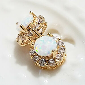 2 Ct Round White Fire Australian Opal Earrings 14K Yellow Gold Plated E46
