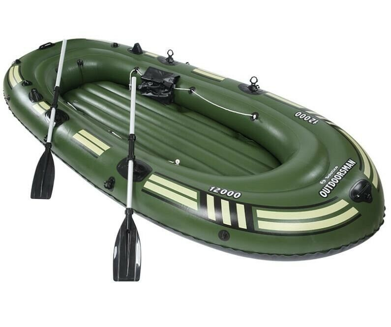 Heavy duty 4 Person Inflatable Raft Dinghy fishing Boat Set Max 300kg