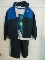 Adida Boys 3 Piece Warm Up Suit Jacket Tee Pants Track Suit 3t, 4t