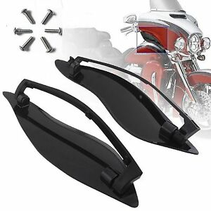 Black-Adjustable-Fairing-Side-Wings-Air-Deflectors-For-Harley-Touring-2014-2017