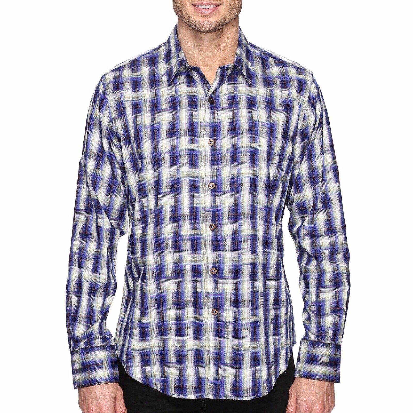 Robert Graham Men's Long Sleeve Maidenhead Plaid Shirt Classic Fit Navy XL