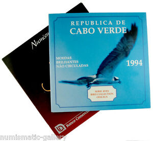 CAPE-VERDE-6-COIN-PROOFLIKE-MINT-SET-1994-BIRDS-COLLECTION