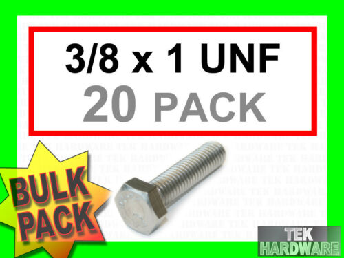 """Stainless Steel UNF Imperial Hex Head Bolts Setscrews 3//8 x 1/""""  20Pk"""