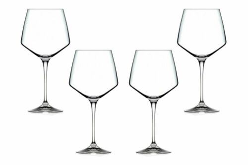 Aria Burgundy Stemmed Wine Glasses 25.25 Oz Modern Goblets Glassware Set of 4