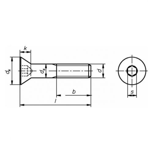 A2 blank 10x ISO 10642 Senkschraube mit Innensechskant M 5 x 20