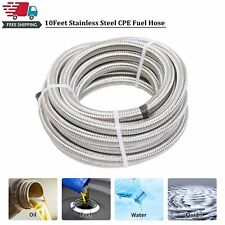 10 Feet 4an An4 Stainless Steel Braided Cpe Line Hose For Fuel Oil Gas Silver