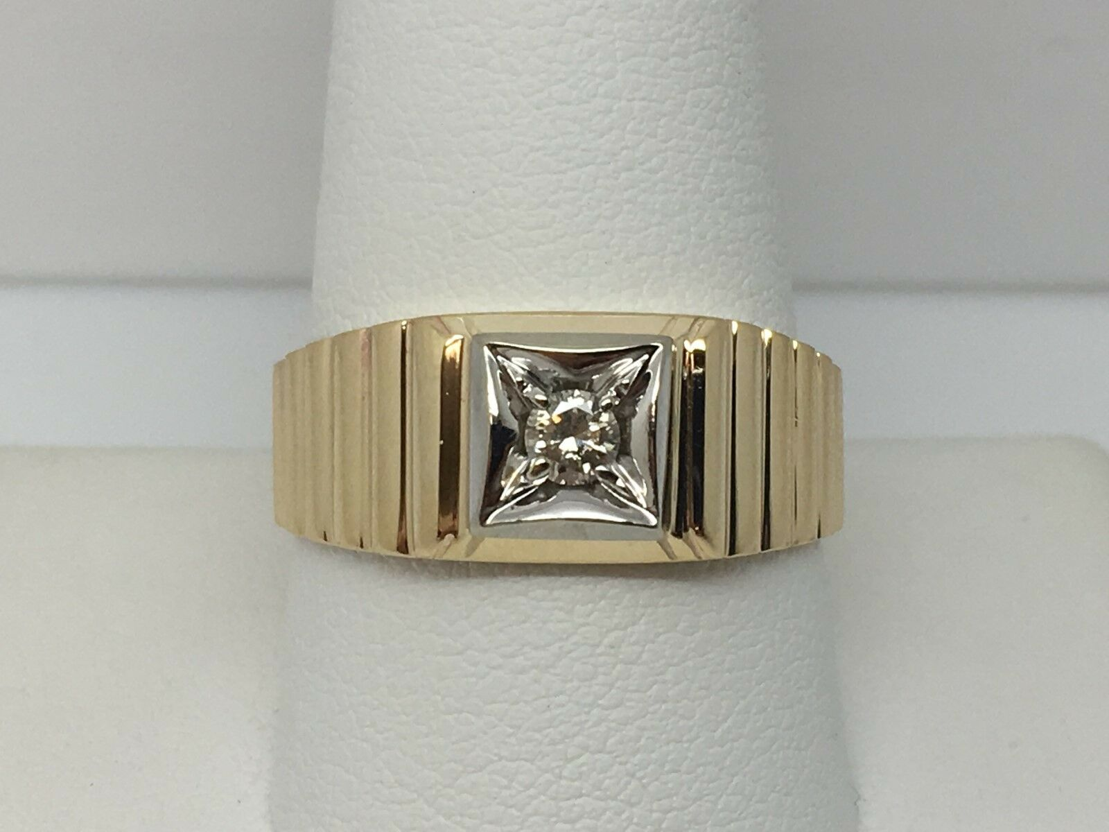 10K YELLOW gold SOLITAIRE MENS RING SIZE 10