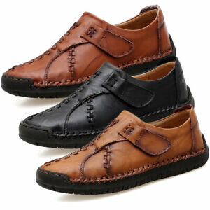 men's real leather driving shoes casual slip on loafers