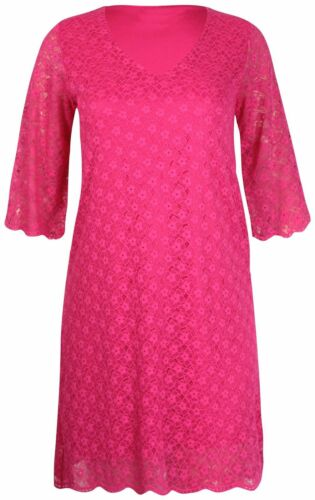 Ladies Half Short Sleeve Scallop Edge Lace Lined Long Womens Dress New Top Plus