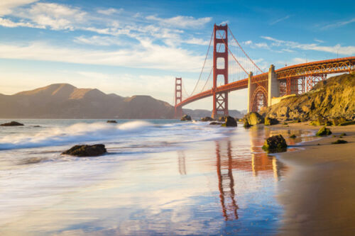 TRAVEL ART POSTER PHOTO SAN FRANCISCO GOLDEN GATE BRIDGE METAL SIGN TIN PLAQUE