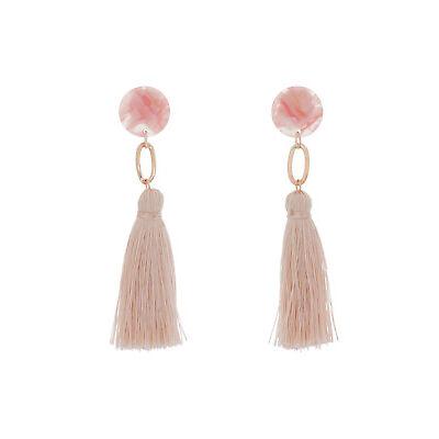 NEW Basque Clean Oval Cut Out Tassel Earring Light Pink A72232BA