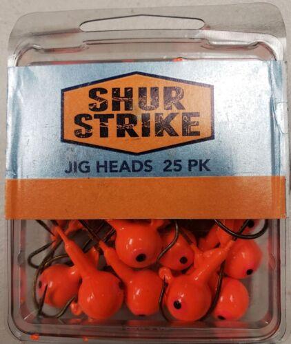 Bass,Panfish Shur Strike Jig Heads 3//8 oz ORANGE 25 VALUE pack   Walleye