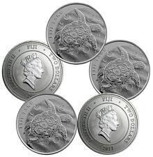 2011 1 oz Silver New Zealand $2 Fiji Taku Coins - 5 oz Total .999 (BU, Lot of 5)