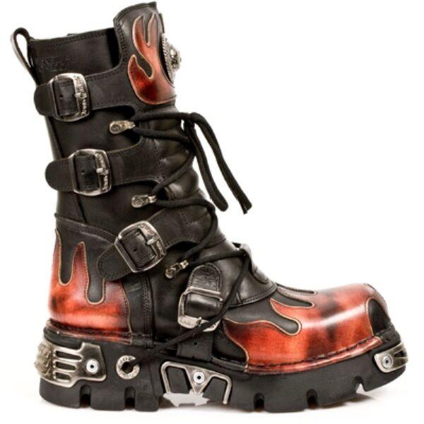 NEW Rock 591-S1 Rosso Fiamma Metallico Pelle Nera Stivali Goth Biker Boot
