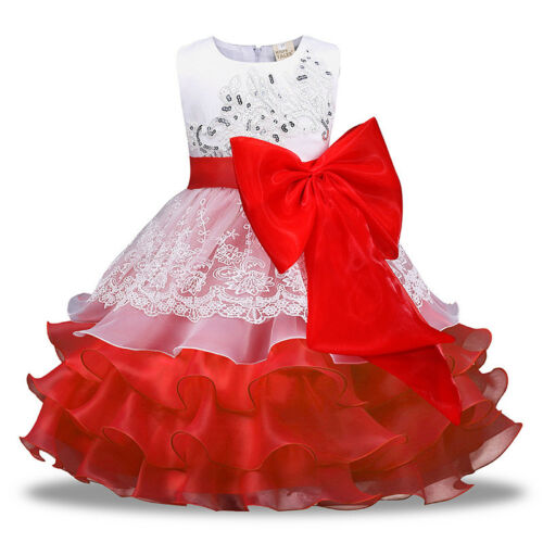 Flower Girls Princess Party Prom Dress Wedding Formal Ball Gown Bridesmaid Dress